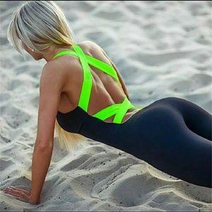 Pants - Black Workout Bodysuit with green straps